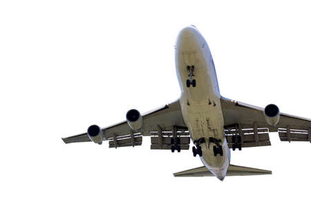 front bottom image large commercial passenger aircraft or cargo transportation airplane spread wheel prepare to landing isolated white background