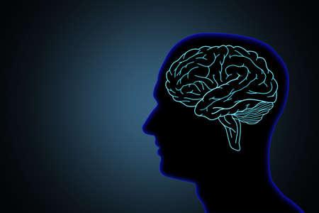Illustration human brain concept in silhouette black head on dark blue background
