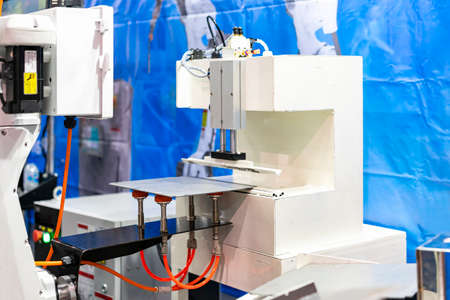 precision robot arm and automatic vacuum or suction cup for pick - place transportation metal sheet plate or various material goods or product of manufacturing process in industrial