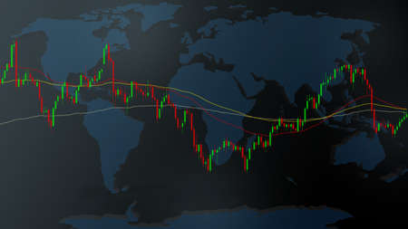 Illustrator candlestick and moving average line of stocks chart on world map and dark blue background