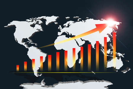 red bar graph chart and arrow line direction point up with flare lighting on world map and dark blue  background Foto de archivo