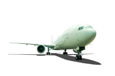 Front view passenger aircraft or cargo airplane parking on ground with shadow isolated on white background with clipping path