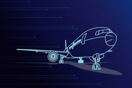 Illustration Front view sketch line blue color passenger aircraft or cargo airplane parking  with shadow on ground and light glow effect Foto de archivo