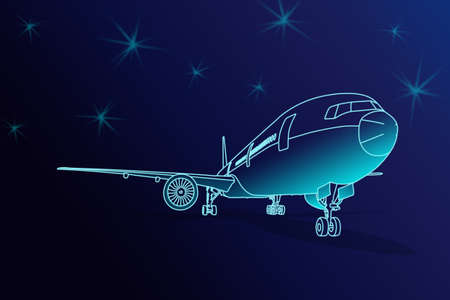 Illustration Front view sketch line blue color passenger aircraft or cargo airplane parking with shadow on ground on dark blue tone background Foto de archivo
