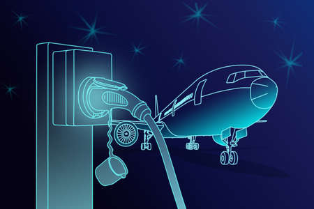 Illustration sketch line and gradient blue color of electric aircraft charger station with plug power cable supply and passenger or cargo  airplane parking on ground on dark blue sky background