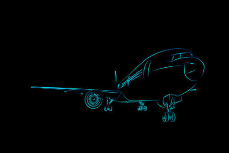 Illustration sketch line light blue color front view passenger air craft or cargo airplane isolated on black background