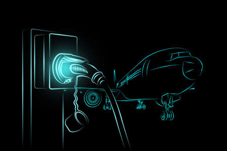 Illustration sketch light blue color outline shape of electric aircraft charger station with plug power cable supply and passenger or cargo airplane isolated on black background