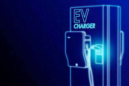 Illustration sketch light blue color outline shape of electric vehicle charging (Ev) station with plug of power cable supply for Ev car isolated on dark blue background