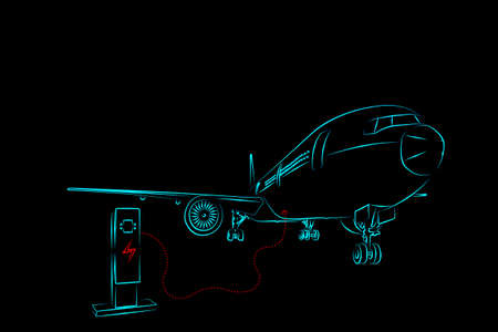 Illustration sketch light blue color outline shape of electric aircraft charger station connect charging electrical supply with passenger or cargo airplane isolated on black background