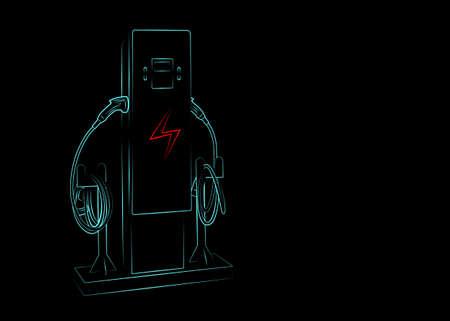 Illustration sketch light blue color outline shape of electric vehicle charging (Ev) station with plug of power cable supply for Ev car isolated on black background Foto de archivo