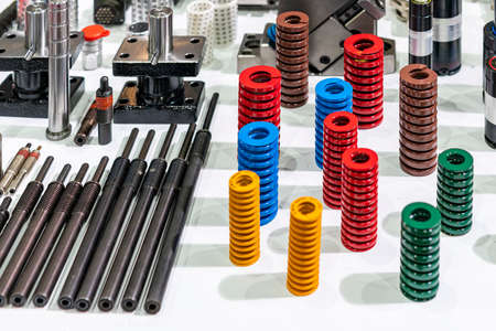 various equipment for injection mold and die stamping system such as spring nitrogen gas spring shock absorber bush guide and ejector pin block set ball retainers in industrial