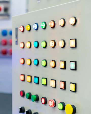 Various shape and color push button lamp switch on off for start stop and show status or monitor function work install on electric power control cabinet