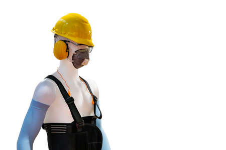 Manikin model operator wear industrial personal safety equipment such as helmet safety mask armband earplug muff glasses back support belt etc. isolated with clipping path