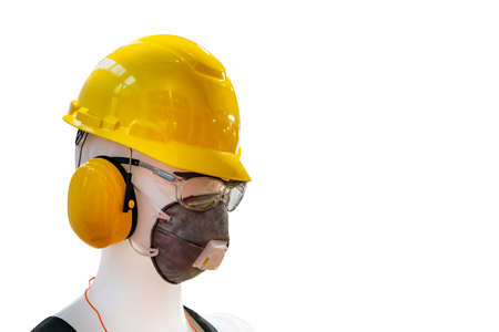 Manikin model operator wear standard industrial personal safety equipment such as helmet safety mask earplug muff glasses back isolated with clipping path Foto de archivo