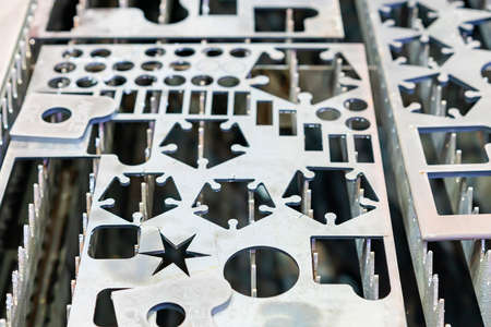 Various shape metal perforated steel sheet or plate part made from automatic and high precision laser or plasma  cutting  process in industrial at factory