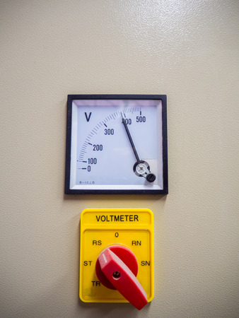 volt: Industrial volt meter and selective switch. Stock Photo