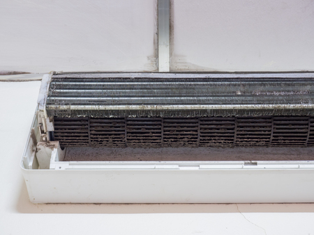 choke: Dirty squirrel cage fan in air conditioner,air conditioner fan.