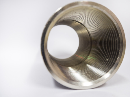 Close-up of circle tube with spiral inside,tunnel of spiral. Stock Photo