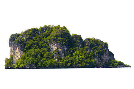 Separate the islands in the sea on a white background. Pig Island Room, Krabi Province