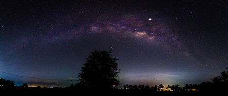 Night scenery with colorful and light yellow Milky Way Full of stars in the sky in summer Beautiful universe Background of space Stock Photo - 124526322