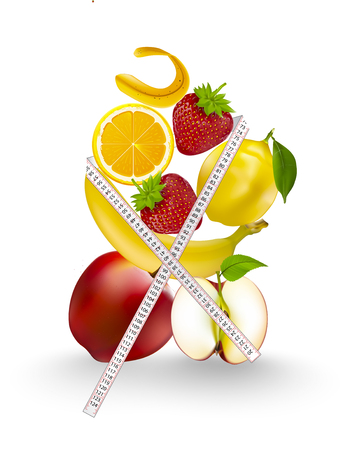 The fruit includes red apple and lemon balm, banana, strawberry, white body, white background, suitable for health. And the message is a poster or a message. Zdjęcie Seryjne
