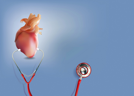Medical Headphones with Heart or Cardiac Arrest in 3D Illustration Format Stok Fotoğraf