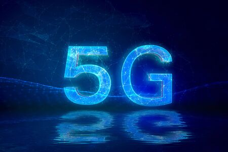 Creative connection background, mobile phone with 5G hologram on the background of the new world era, the concept of 5G network, high-speed mobile Internet, new generation network has a wireless speed limit, mixed media