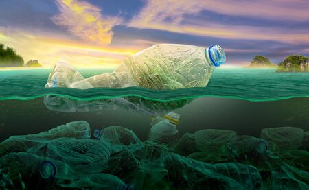 Plastic pollution in marine environmental problems Animals in the sea cannot live. And cause plastic pollution in the ocean, Environmental concept Stock Photo