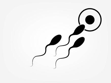 Abstract sperm icon, runs towards the egg. On a white background, competition concept
