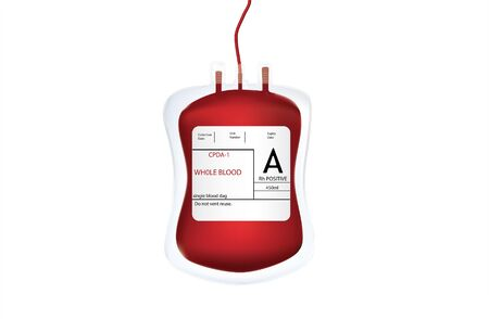 3D, The blood from the blood bag is in the shape of the image, the background is white. Stock Photo