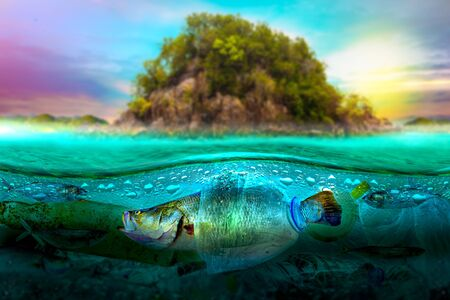 Plastic pollution in marine environmental problems Animals in the sea cannot live. And cause plastic pollution in the ocean (Environmental concept) Imagens