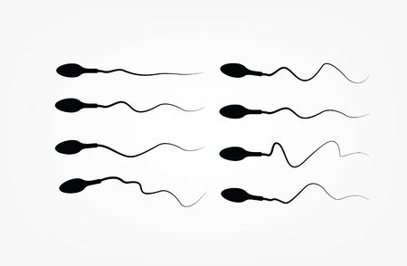 Abstract sperm icon, sperm icon and sperm vector that runs towards the egg. On a white background, competition concept Çizim