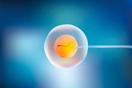 One sperm is human semen. In the white back Reklamní fotografie