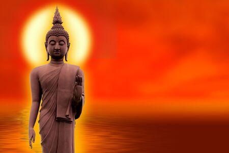 El Buda se para con gracia sobre una flor de loto con un fondo naranja (sobre el budismo). Foto de archivo