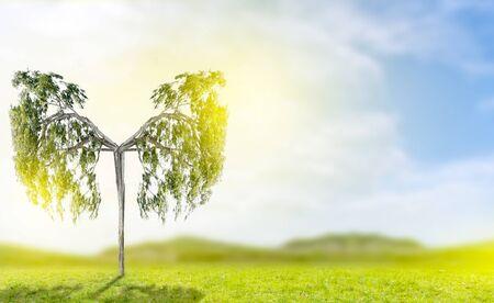 Images en forme d'arbre vert pulmonaire, concepts médicaux, autopsie, affichage 3D et animaux en tant qu'élément