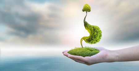 The tree (stomach) is a 3D illustration of the medical environmental concept.