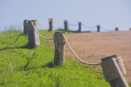 Fence with timber hitch. Stock Photo