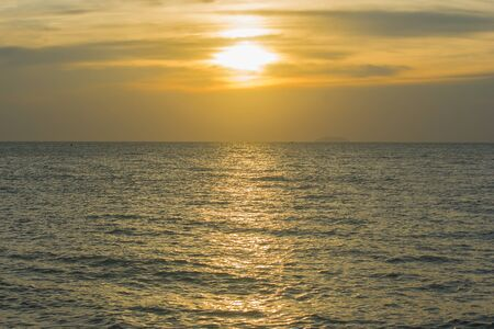 Tropical view of sea with sunset light at Jomtien Beach, Chonburi Province, Thailand.