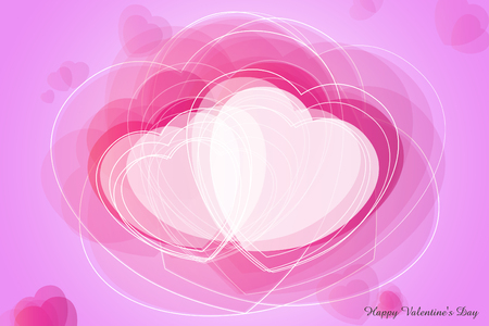 editorial: Happy Valentines Day celebration greeting card decorated with pink heart shape. Stock Photo