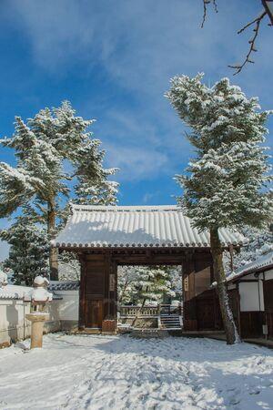 Kiyomizu-dera temple with white snow background at Kyoto, Japan. Stock Photo
