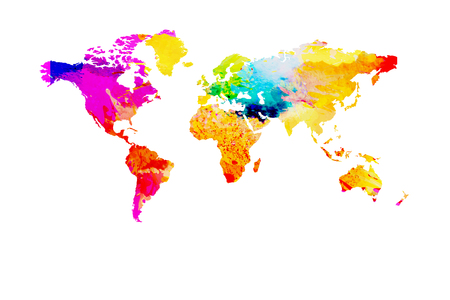 World map painted with watercolor.