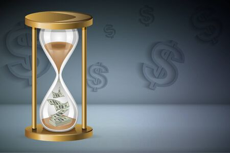 Time is money concept : Sand clock and money with dollar signs background. Stock Photo