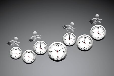 Time Management Concept : Business man running on wall clock with grey background. Stock Photo