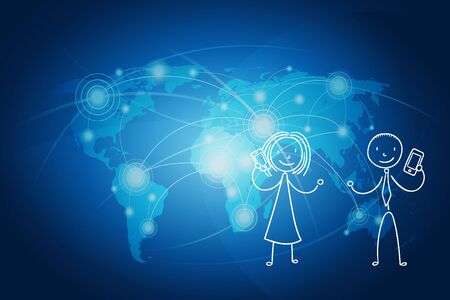 editorial: Business Communication Concept : Woman and man communicate with world map background.