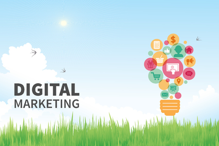 digital marketing: Digital Marketing Concept with natural background.