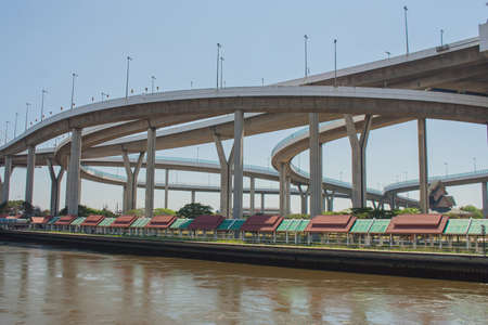 Bhumibol Bridge or Bridge of Industrial Rings is concrete highway overpass and cross the Chao Phraya River, Thailand.
