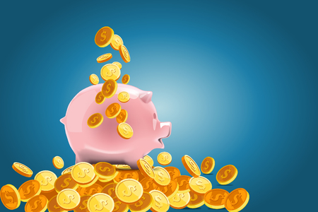 cuenta bancaria: Business Concept Background : Piggy bank with money background.