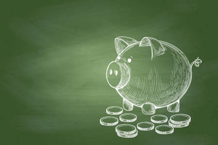 Business Concept Background : Piggy bank with coins on green chalkboard background. Stock Photo