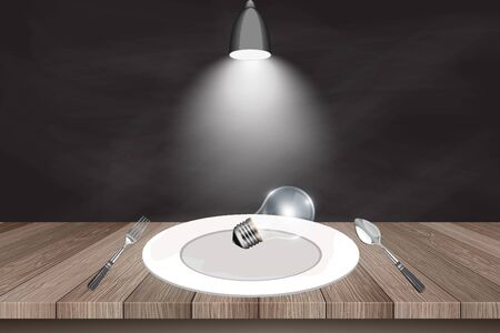 editorial: Business Creative and Idea Concept : Light bulb on white dish and wooden table with spotlight background. (3D Illustration)