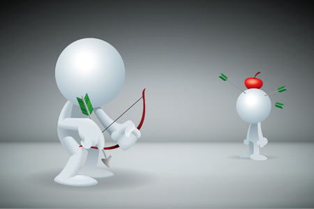 Archer shoot many green arrows missed target red apple on head. (3D Illustration)